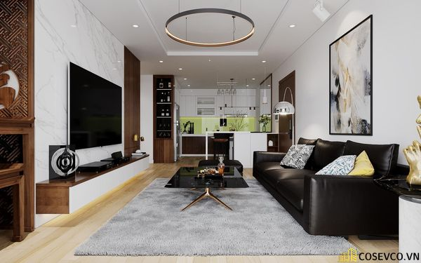 Nội thất phòng khách được sử dụng vật liệu gỗ MDF chống ẩm tạo không gian hiện đại trẻ trung và cực kỳ sang trọng - View 3