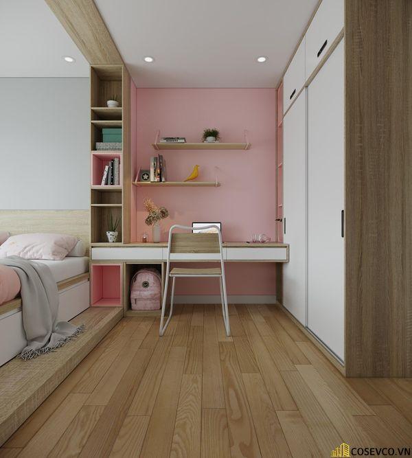 Đối với phòng ngủ cho bé thì chất liệu MDF là lựa chọn tốt nhất, vừa tạo không gian trẻ trung vừa tiết kiệm chi phí - View 4
