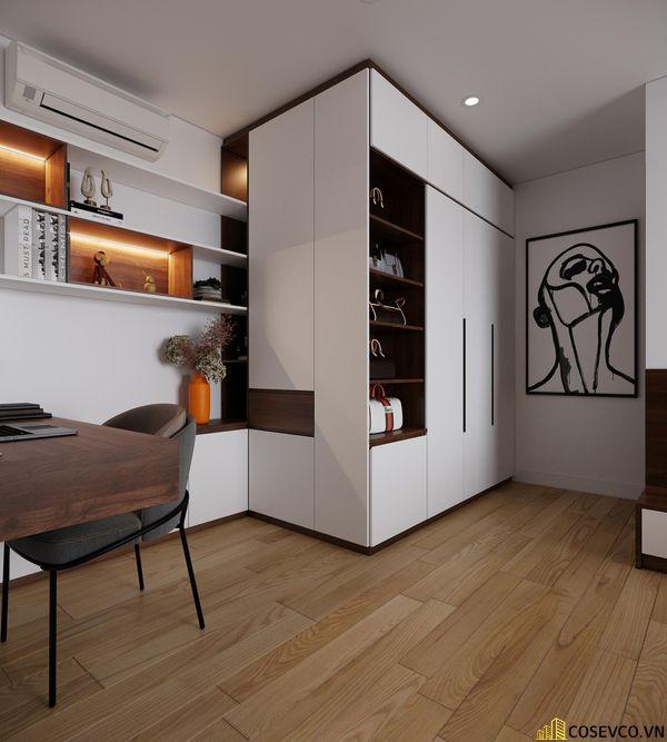 Phòng ngủ master cũng được ứng dụng gỗ MDF với hệ thống giường tủ và kệ tivi đơn giản tinh tế - View 5