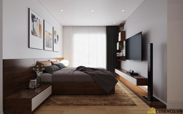 Phòng ngủ master cũng được ứng dụng gỗ MDF với hệ thống giường tủ và kệ tivi đơn giản tinh tế - View 1