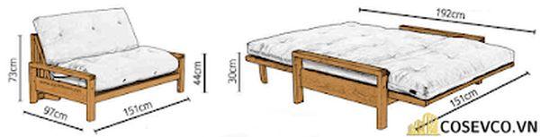 Kích thước giường Sofa bed