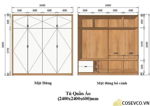 Kích thước tủ quần áo 4 cánh (2400x2400x600)mm