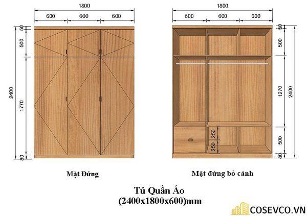 Kích thước của tủ quần áo 3 cánh