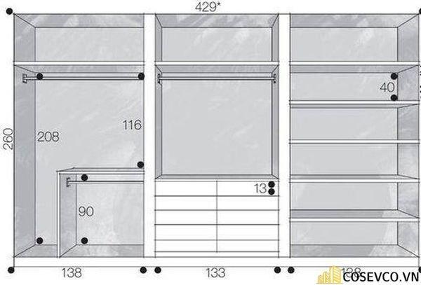 Chiều rộng của tủ quần áo dao động vào khoảng 80-150cm cho phòng nhỏ và từ 200cm cho phòng ngủ lớn hơn