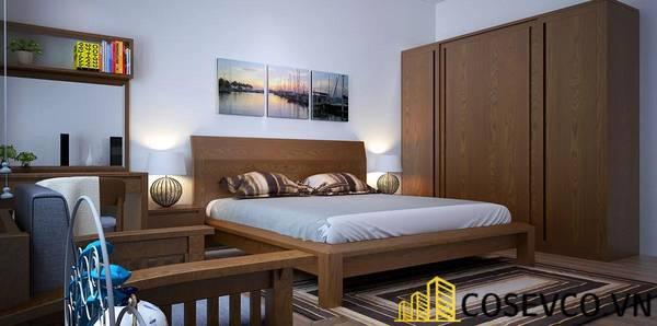 Giường gỗ sồi chân cao - Mẫu 25