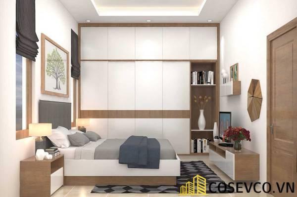Giường gỗ sồi sơn trắng - Mẫu 9