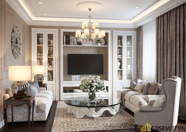 Thiết kế nội thất phòng khách chung cư đẹp sang trọng phong cách tân cổ điển - Mẫu 1
