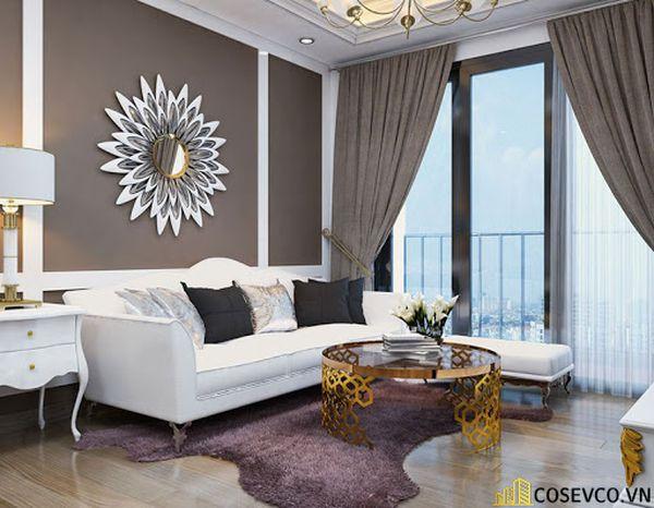 Thiết kế nội thất phòng khách chung cư đẹp sang trọng phong cách tân cổ điển - Mẫu 2