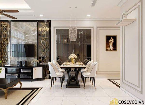 Thiết kế nội thất phòng khách chung cư đẹp sang trọng phong cách tân cổ điển - Mẫu 4