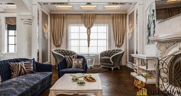 Thiết kế nội thất phòng khách chung cư đẹp sang trọng phong cách tân cổ điển - Mẫu 3