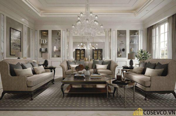 Thiết kế nội thất phòng khách chung cư sang trọng phong cách tân cổ điển - Mẫu 14