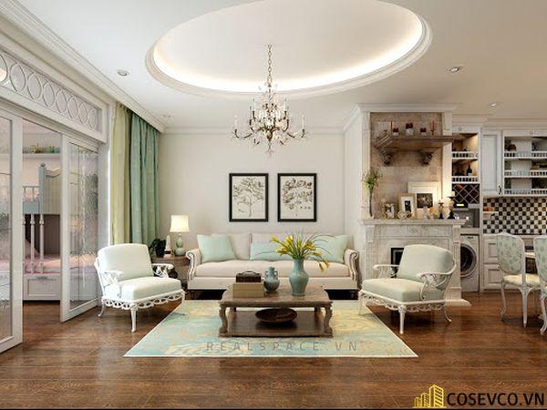 Thiết kế nội thất phòng khách chung cư đẹp sang trọng phong cách tân cổ điển - Mẫu 5