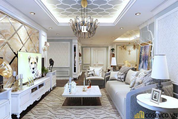 Thiết kế nội thất phòng khách chung cư đẹp sang trọng phong cách tân cổ điển - Mẫu 6