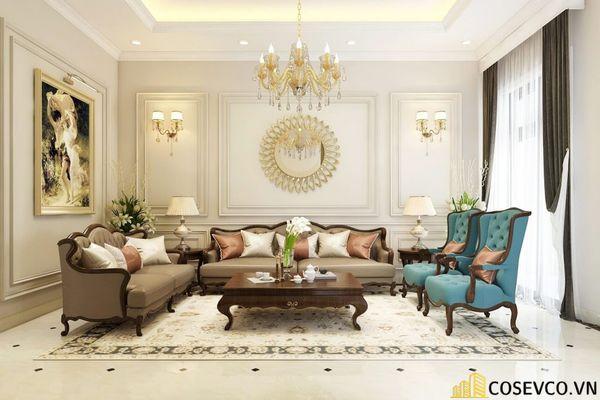 Thiết kế nội thất phòng khách chung cư đẹp sang trọng phong cách tân cổ điển - Mẫu 7