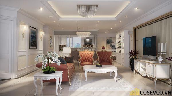 Thiết kế nội thất phòng khách chung cư đẹp sang trọng phong cách tân cổ điển - Mẫu 8