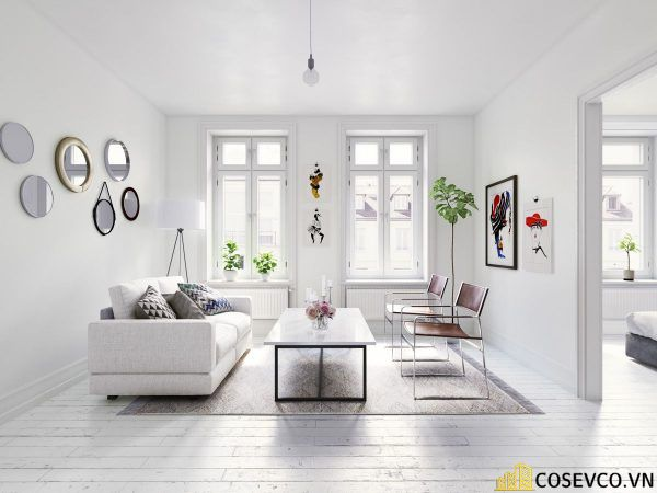 Phòng khách phong cách tối giản là sự giản đơn các đường nét, họa tiết trong thiết kế và trang trí nội thất - M6