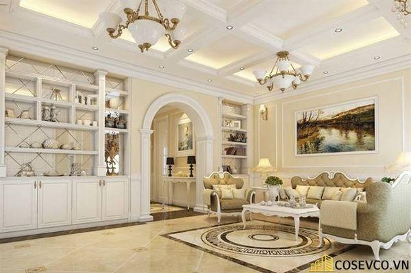Thiết kế nội thất phòng khách chung cư đẹp sang trọng phong cách tân cổ điển - Mẫu 9