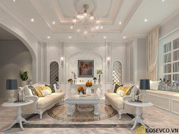Thiết kế nội thất phòng khách chung cư sang trọng phong cách tân cổ điển - Mẫu 9