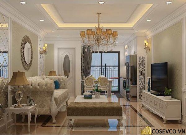Thiết kế nội thất phòng khách chung cư sang trọng phong cách tân cổ điển - Mẫu 11