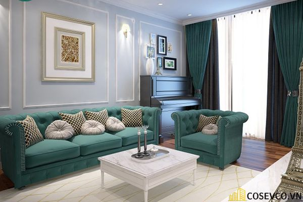 Thiết kế nội thất phòng khách chung cư sang trọng phong cách tân cổ điển - Mẫu 12