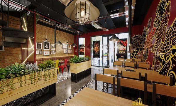 Mẫu thiết kế nhà hàng lẩu nướng bình dân ấn tượng - View 2