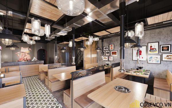 Mẫu thiết kế nhà hàng bình dân lẩu nướng ấn tượng - View 9