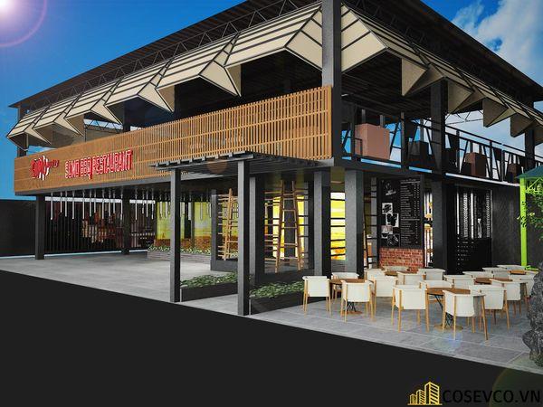 Nhà hàng lẩu nướng kết cấu khung thép đơn giản tinh tế - View 1