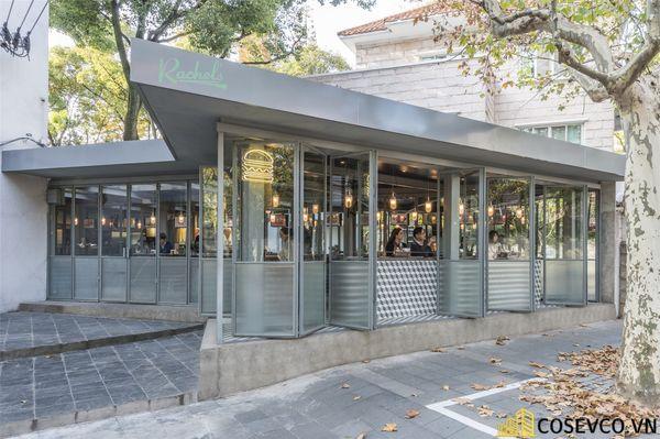 Mẫu thiết kế nội thất nhà hàng khung thép đơn giản - View 1