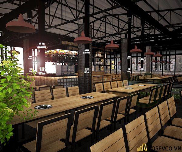 Nhà hàng lẩu nướng kết cấu khung thép đơn giản tinh tế - View 6