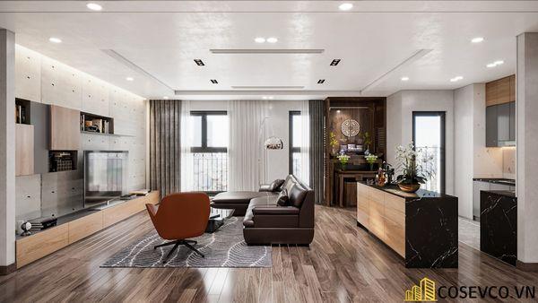 Thiết kế phòng khách chung cư 3 phòng ngủ