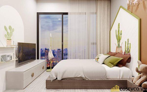Nội thất phòng ngủ chính thiết kế với bố cục đơn giản, sử dụng những vật liệu mới tạo nên hiệu ứng khá mạnh.