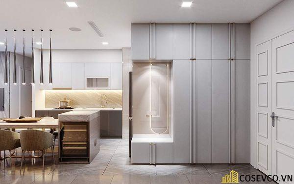 Thiết kế nội thất chung cư 70m2 với phòng khách liền kề bếp thoáng rộng