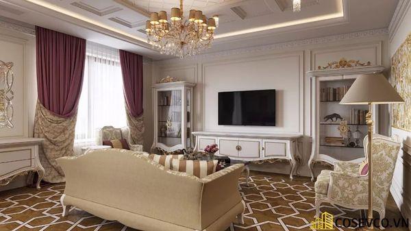 Thiết kế nội thất chung cư 70m2 sang trọng thể hiện rõ nét từ bố cục, cách chọn vật liệu cho đến kiểu dáng nội thất.