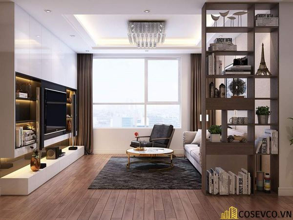 Mẫu thiết kế nội thất chung cư 80m2 3 phòng ngủ - Phòng khách