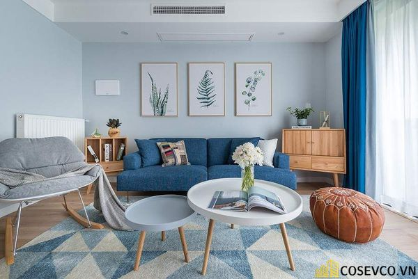 Bố trí nội thất chung cư 80m2 2 phòng ngủ - Phòng khách