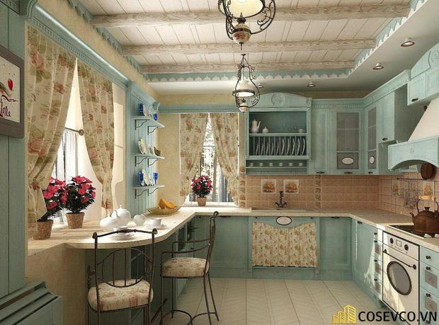 Sử dụng vách trang trí bếp với họa tiết độc đáo sẽ vừa có tác dụng phân cách phòng bếp với các phòng khác
