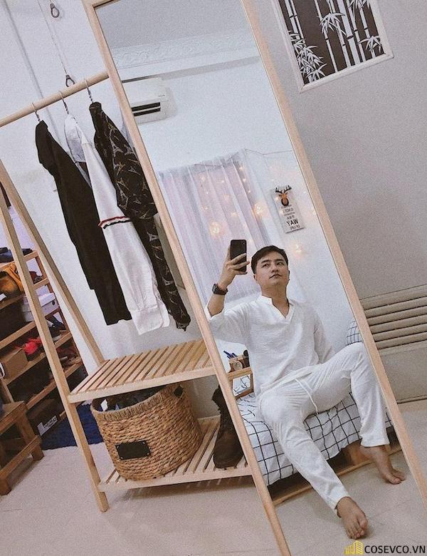 Giá treo quần áo chữ A 2 tầng và Gương