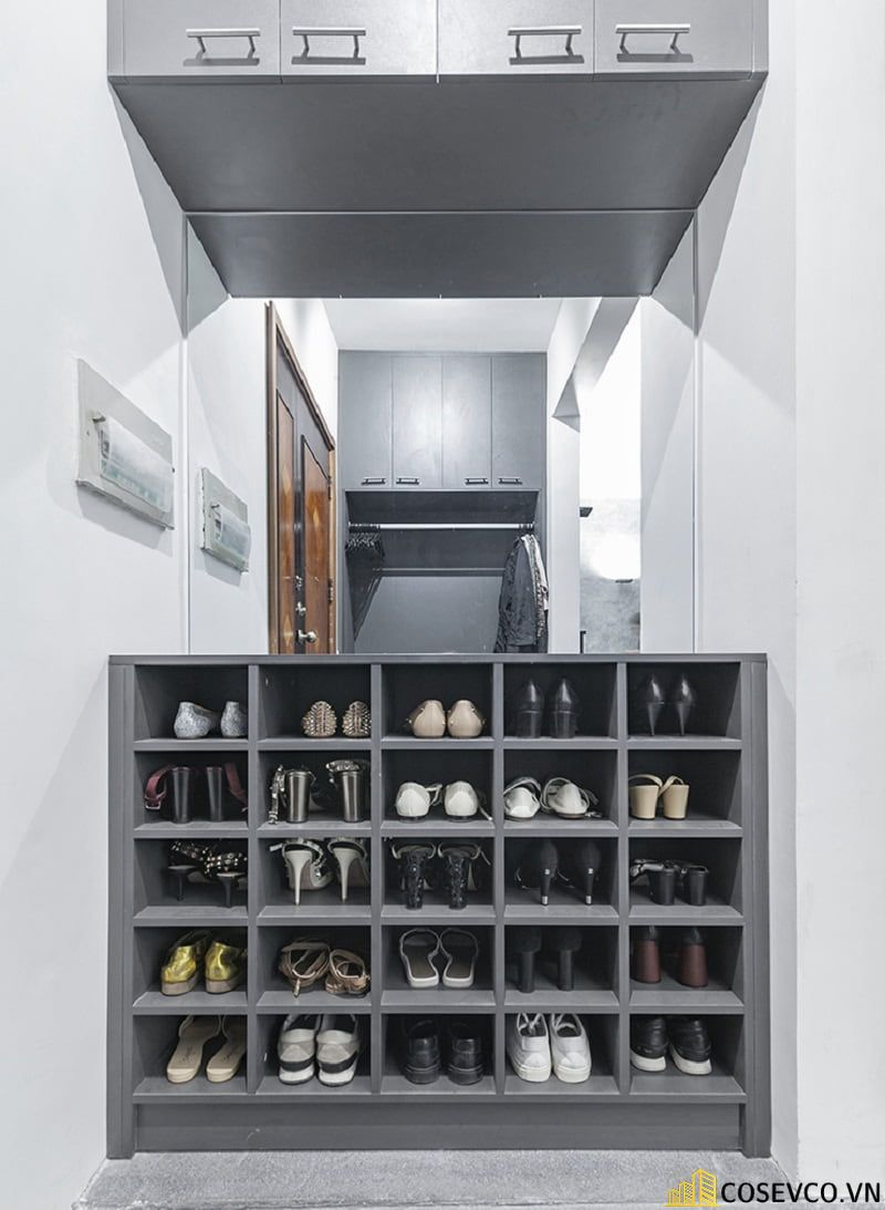 Mẫu tủ giày thiết kế kịch trần thông minh - Mẫu 30