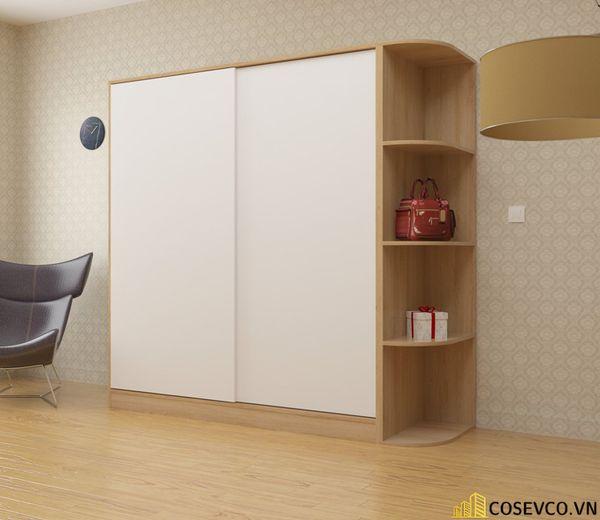 Mẫu tủ quần áo cửa lùa 2 cánh phù hợp với không gian nhỏ, tiết kiệm diện tích - M1