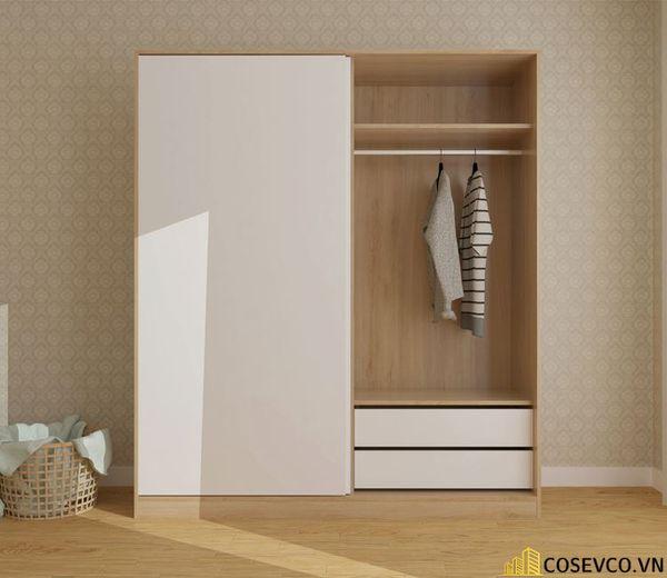 Mẫu tủ quần áo cửa lùa 2 cánh phù hợp với không gian nhỏ, tiết kiệm diện tích - M2