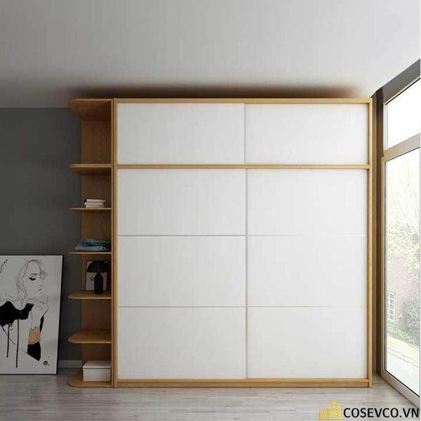 Mẫu tủ quần áo cửa lùa 2 cánh phù hợp với không gian nhỏ, tiết kiệm diện tích - M8