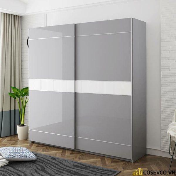 Mẫu tủ quần áo cửa lùa 2 cánh phù hợp với không gian nhỏ, tiết kiệm diện tích - M10