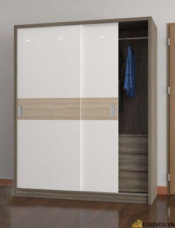 Mẫu tủ quần áo cửa lùa 2 cánh phù hợp với không gian nhỏ, tiết kiệm diện tích - M12