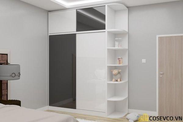 Mẫu tủ quần áo cửa lùa 2 cánh phù hợp với không gian nhỏ, tiết kiệm diện tích - M3