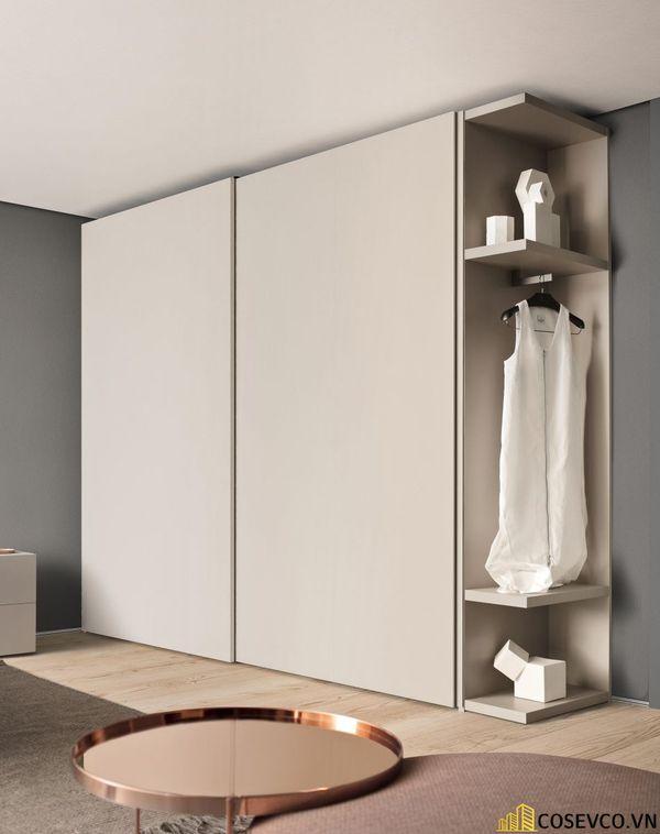 Mẫu tủ quần áo cửa lùa 2 cánh phù hợp với không gian nhỏ, tiết kiệm diện tích - M4