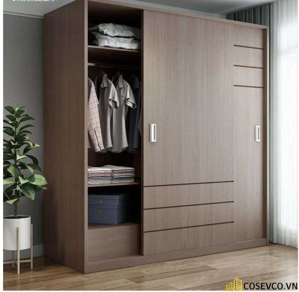 Mẫu tủ quần áo cửa lùa 2 cánh phù hợp với không gian nhỏ, tiết kiệm diện tích - M5