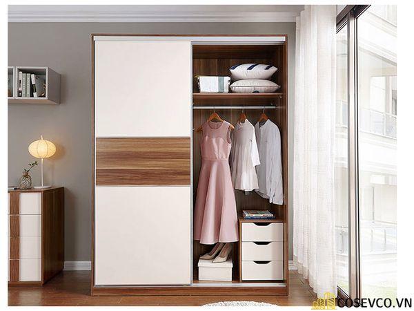 Mẫu tủ quần áo cửa lùa 2 cánh phù hợp với không gian nhỏ, tiết kiệm diện tích - M6