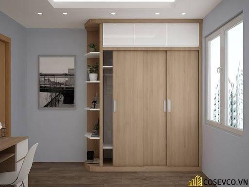 Mẫu tủ quần áo đẹp với thiết kế hiện đại gồm 2 cánh mở tiện lợi - Mẫu 3