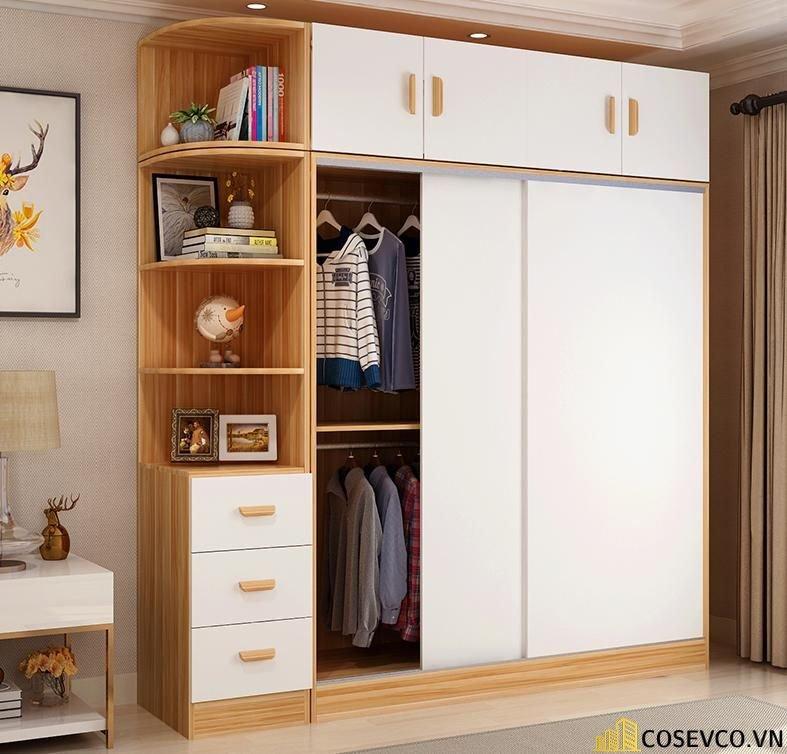 Mẫu tủ quần áo gỗ công nghiệp cửa lùa cũng rất đa dạng - M1