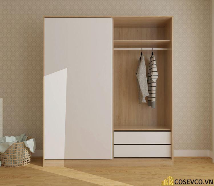 Mẫu tủ quần áo gỗ công nghiệp 1m2 là lựa chọn tối ưu dành cho những căn phòng có diện tích hạn chế - Mẫu 4